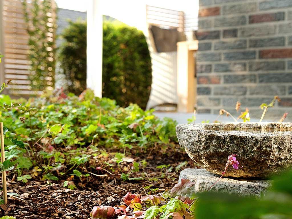 Kleiner Hausgarten mit Holz-Sichtschutz Westerkappeln