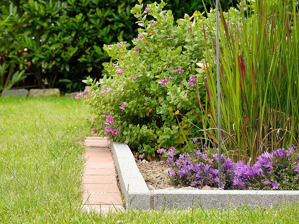 Klassischer Hausgarten mit Terrasse in Recke