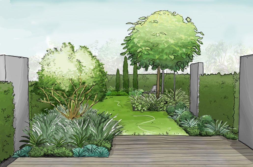 Gartenplanung- Perspektive durch Gartenarchitekt