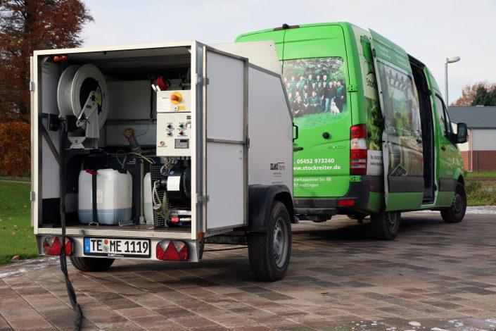 Heißwasser Unkrautbekämpfung thermisch Fugen sauber ohne Gift Elmotherm Fahrzeug